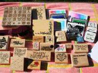 This is a collection of stamps and ink that are all in