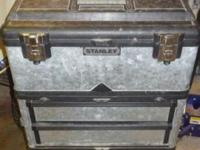 This is a Stanley toolbox with wheels. Has three
