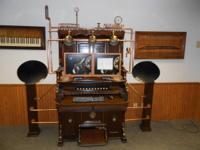beautiful steampunk/modern Victorian computer station.