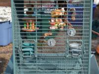 Heavy Duty Painted Steel Bird Cage. Green in