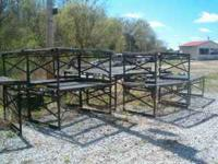 16 steel greenhouse tables with a double chicken wire