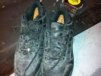 size 9.5 steel toes worn for around a week very good