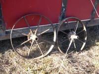 FOR SALE ARE TWO STEEL WHEELS FOR WHEELBARROWS. ASKING