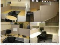 Steelcase Answer workstations, typical size is 7.5x8,