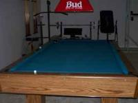 4x8 pool table, Budweiser light and stickes call  no