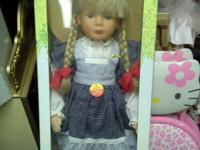 Steiff Doll in BOX. Farmer Girl with Pigtails &