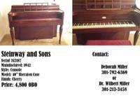 Steinway piano for sale Please see photos for specific