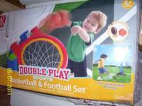 Basketball & football play set. Email or call . Cash