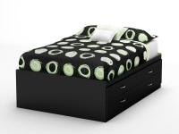 This Step One full captain's bed in Pure Black finish