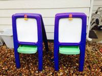 Repainting easels with simple fold up storage. Tray