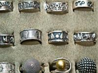 STERLING SILVER 925 RINGS PLAIN/AND STONES/BLACK
