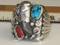 Sterling Silver, Coral & Turquoise Bear Claw Ring