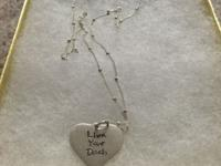 "Sterling Silver Heart Charm stamped with ""Live Your"