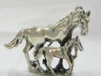 Vintage Sterling Silver Mare and Foal pin/pendant.