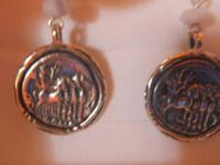 I pair of sterling silver medallion dangle earrings