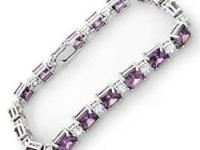 Charming Bracelet With 37.00ctw White and Purple Cubic
