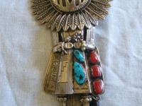 Description Hopi Kachina sterling silver, turquoise, &