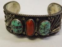 Vintage Sterling Silver Turquoise & & Coral Native