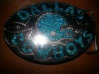 Sterling silver and turquoise Dallas Cowboys belt