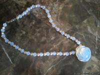 Beautiful Necklace made of translucent moonstone carved