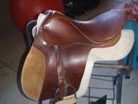 Steuben all purpose English riding saddle. It fits a