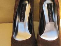 Steven by Steve Madden brown suede pumps with teal