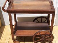THIS 2 SHELF QUARTERSAWN OAK SERVING CART WAS MADE BY