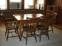 Stickley Cherry Valley Sideboard, Extension Table and 6