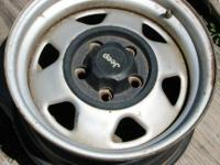 "4 15"" jeep rims , 5x 4.5 pattern , good condition, just"