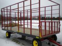 FOR SALE: • NEW Steel 9X18 Hay Bale Wagon on a NEW