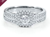 This shimmering bridal set is made from 14K white gold