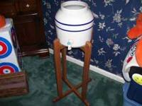 This Posting Is For A Stoneware Crock w/ Wooden Stand /