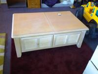 LIGHT WOOD STORAGE TABLE  $50  CALL EIGHT TWO