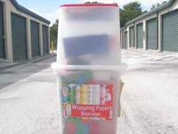 Storage Container for Christmas Wrapping paper. Filled