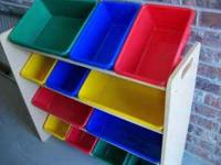 LIKE New Condition Wooden shelves with primary colored