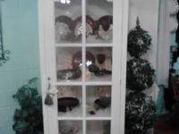 6ft White china cabinet $300 Black bookshelf $175