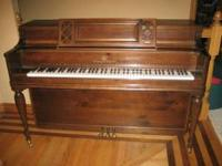 STORY & CLARK CONSOLE PIANO WITH MATCHING BENCH FOR