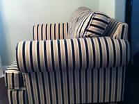 LIKE NEW Cream, taupe and navy striped armchair. I