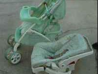 Stroller with snap in carseat and base. The set is