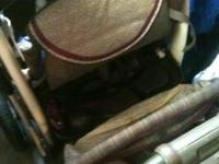 Tan/Burgandy DELUXE!!! Good shape / sturdy - rolls