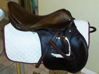 "18"" Stubben saddle. Has some crazing from longtime"