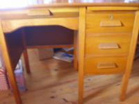Student desk. This vintage wood student desk is sized
