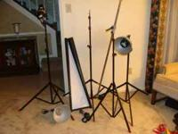 Studio photographic lighting system. 3 light stands, 1