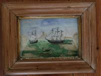 Lovely folk art whaling scene. Ship relief or diorama