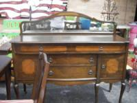 AN ANTIQUE SERVER(SOLD) WITH TABLE & 6 CHAIRS.  THIS IS