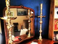 Stunning LARGE 3ft Antique BRASS CANDLESTICK HOLDERS