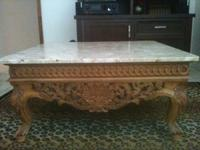 Stunning Marble Top Coffee Table with Ornate Wooden