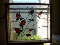 Gorgeous leaded window with red roses and vines, framed