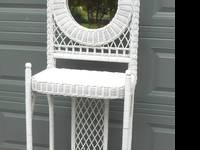 STUNNING TALL WHITE WICKER ETAGERE w MIRROR, for Hall,