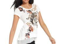 A fierce tiger print livens Style&co.'s short-sleeve